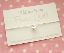 Will You Be My Flower Girl? Heart Wish Friendship Bracelet & Envelope ~ White