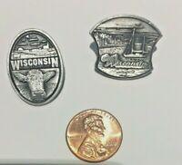 2 Solid Pewter Souvenir Lapel Pins for Wisconsin by DC Souvenir Co. Canada