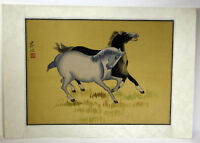 """15"""" Antique Chinese Asian Signed Watercolor on Silk Playful Black White Horses"""