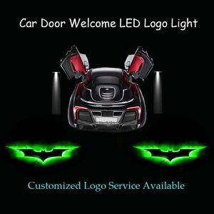 2Pcs 3D Green Batman Logo Car Door Welcome Laser Projector Shadow CREE LED Light