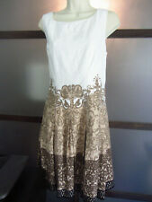 JONES NEW YORK Dress Sz 14 Fitted to A-Line Beige White Lined Cotton