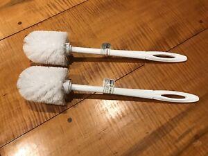 2 Rubbermaid Commercial 15'' Toilet Bowl Brush Plastic Handle White FG631000 NEW