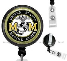 US Marine Corps Mom Clip On Id Badge Reel Retractable Work Identification Holder