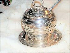 LOVELY VINTAGE D&S ENGLISH SILVERPLATE SUGAR JELLY JAM LID BOWL/PLATE/SPOON