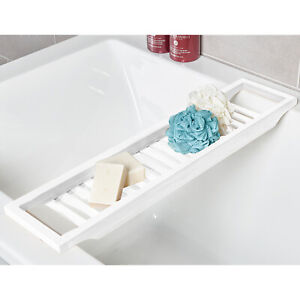 White Bamboo Wood Bath Tub Rack Bathroom Shelf Tidy Tray Storage Caddy Organiser