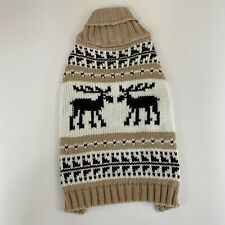 Top Paw Reindeer Knit Dog Sweater Pullover Brown Tan New Christmas