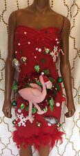 Ugly Christmas Sweater Dress Flamingo XS/S