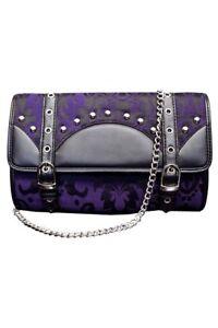Dark Star Black Purple Brocade Gothic Clutch Purse w Strap