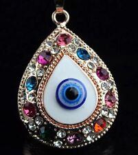 Betsey Johnson Evil Eye Necklace Rainbow Gold Crystals Spiritual European