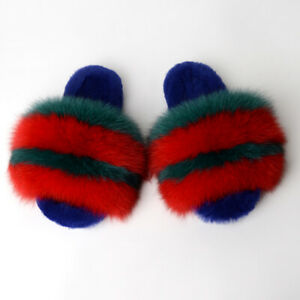 INS Luxury Fox Raccoon Fur Slippers Shoes Full fur Slides Indoor Women's Sandals