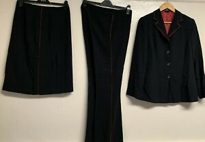 Unbranded W For Women black 3 pieces business trousers skirt suits size 12