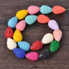 20pcs Mixed 18x13mm Teardrop Shape Carved Flower Imitation Coral Resin Beads lot