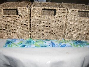 FOUR STRAW COLLAPSIBLE BASKETS