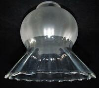 "Vintage Wide Ruffled Clear & Satin Glass Pendant Lamp Shade 2 1/4"" Fitter Rim"