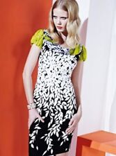 BLUMARINE Chic Foliage S/S 2013 NWT Black/White Lime Cotton Dress IT 38 US 4