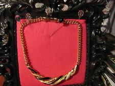 "Swarovski swan logo black enamel crystal gold tone chain necklace 15.50"""