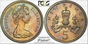 1968 GREAT BRITAIN 5 NEW PENCE PCGS MS66 COLOR TONED COIN ONLY 1 GRADED HIGHER