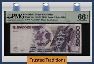TT PK 93a 1986-88 MEXICO BANCO DE MEXICO 50000 PESOS PMG 66 EPQ GEM UNCIRCULATED