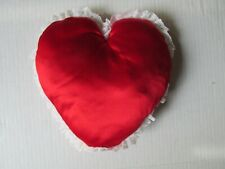 "Heart Shaped Red Velvet Soft Pillow With White Ruffle 8"" x 8"" X 2"""