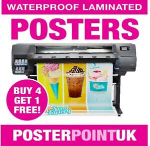 LAMINATED WATERPROOF POSTERS - POSTER PRINTING - A0 A1 A2 A3 A4 - FREE UK P&P