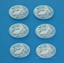 6 Fantasy WHITE MERMAID on SKY BLUE 25mm x 18mm Costume Jewelry Craft CAMEOS