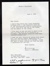 Henry Kissinger Signed Letter to Tv Personality Kitty Carlisle