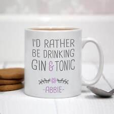 Personalised White Ceramic Mug - I'd Rather Be Drinking Gin & Tonic