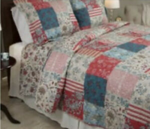 Twin Patchwork Quilt'Windsor Home Mallory' Brand 2/pc-Red,Turquoise,Coral, Beige