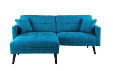 Mid-Century Modern Linen Futon Sofa Bed, Living Room Sleeper Couch, Sky Blue