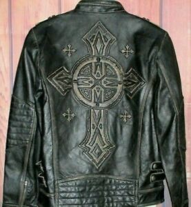 MENS AFFLICTION BLACK PREMIUM 100W425 DISTRESSED GENUINE LEATHER JACKET SIZE S