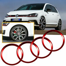 RED Wheel Center Cap Hub Rings Decor For Volkswagen Beetle GTI Golf Jetta etc
