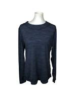 Cuddl Duds Women's Size XL Blue Flex Fit Long Sleeve Shirt Top Thumb Holes