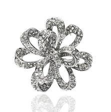 VINTAGE da sposa argento strass lucido BOW KNOT BUSTINO WEDDING SPILLA PIN BR174