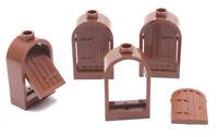 LEGO - 4 Burgfenster 1x2x2 2/3 braun mit Holzladen braun / 30044 94161 NEUWARE