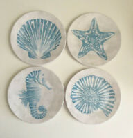 "Shells Starfish Seahorse Melamine Appetizer Side App Plates 6"" Set of 8 Beach"