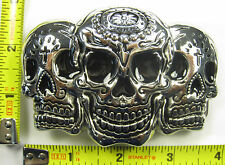 DAY OF THE DEAD SUGAR SKULLS METAL BELT BUCKLE EL DIA DE MUERTOS B508