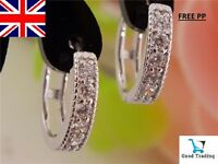 18K REAL WHITE GOLD FILLED HOOP EARRINGS MADE WITH SWAROVSKI CRYSTALS FREE PP