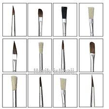 Artista 15 pezzi Brush Set Taglia assortiti lunghezza OLIO ACRILICO PENNELLI PUNTA PIATTA