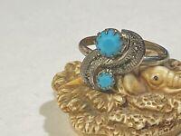 Silver Tone & Faux Turquoise Southwestern Adjustable ring  Size 9.5 Plus
