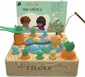 TILOLY MONTESSORI WODDEN TOY FOR 1 YEAR & UP MAGNETIC FISHING GAME MINI GARDEN