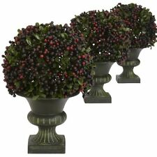 Nearly Natural 4126 Pepper Berry Ball Topiary- Multicolor- Set of 3