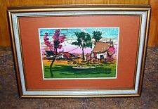 Abstract Art on Canvas Cloth Asian Thai Folkways Water Village Matted & Framed