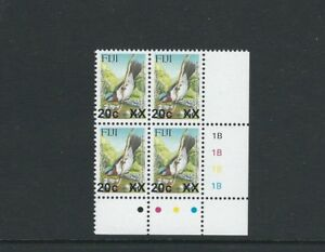 FIJI 2007 BIRD PROVISIONAL (Sc 1160 20c on 6c 4mm gap) VF MNH plate block of 4