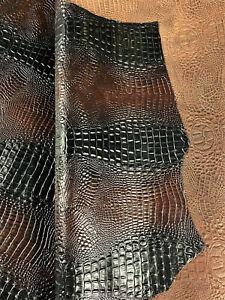 Alligator Black Rust Leather Cow Hide Cowhide Accessory Bag Craft Avg 22 SqFt