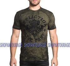 AFFLICTION Battle Royale A18922 New Men`s Graphic Fashion Camo Green T-shirt