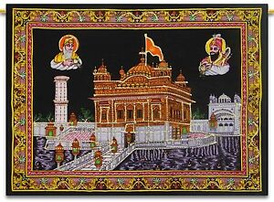Indian Decor Golden Temple Cotton Poster Black Wall Hanging Sequin Work Gypsy
