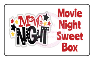 Movie Night Sweet Box Rectangle Stickers Birthday Party Bag Sweet Cone Gift