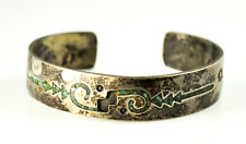 Sterling Silver Gibson Gene Arrow Inlay Green Chip Turquoise Cuff Bracelet 12mm