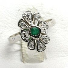 14k white gold diamond EMERALD ring flower Vintage Reproduction Green Art Deco