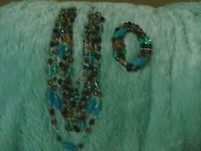 Lia Sophia Multi Colored Necklace and Bracelet Multi Strand